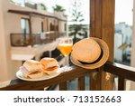 tasty sandwich and juice... | Shutterstock . vector #713152663