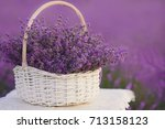 basket with lavender in the...   Shutterstock . vector #713158123