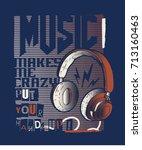 tee print design as vector with ... | Shutterstock .eps vector #713160463