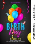 flyer template for birthday... | Shutterstock .eps vector #713167813