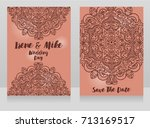 beautiful wedding cards with...   Shutterstock .eps vector #713169517