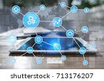 automation concept as an... | Shutterstock . vector #713176207