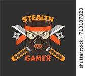 stealth gamer logo with ninja...   Shutterstock .eps vector #713187823