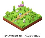 isometric trees and park... | Shutterstock .eps vector #713194837