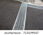 water drain or ditch on the... | Shutterstock . vector #713199037