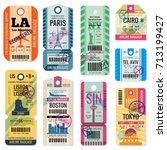 retro travel luggage labels and ... | Shutterstock .eps vector #713199427