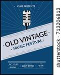 old vintage music festival...   Shutterstock .eps vector #713206813