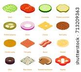 slice food icons set. isometric ... | Shutterstock .eps vector #713209363