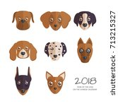 2018 year of the dog on the... | Shutterstock .eps vector #713215327