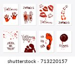 vector set of halloween poster... | Shutterstock .eps vector #713220157