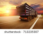 rear view of the big truck with ... | Shutterstock . vector #713235307