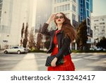 young fashion woman in casual... | Shutterstock . vector #713242417