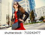 fashion woman in casual red... | Shutterstock . vector #713242477