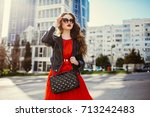 young fashion woman in casual... | Shutterstock . vector #713242483