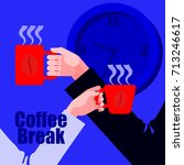 coffee break. male and female... | Shutterstock .eps vector #713246617