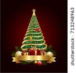 golden decorative christmas... | Shutterstock .eps vector #713248963