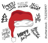 holiday card lettering design.... | Shutterstock .eps vector #713250997
