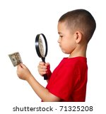boy examining a twenty-dollar US bill with a magnifying glass, isolated on white background - stock photo
