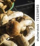 Small photo of Boletus edulis (English: penny bun, cep, porcino or porcini) in the basket