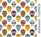 vector seamless pattern with... | Shutterstock .eps vector #713259013