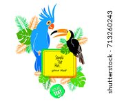 cockatoo vector parrot with... | Shutterstock .eps vector #713260243