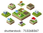 farm set of houses in isometric ... | Shutterstock .eps vector #713268367