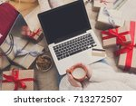 christmas online shopping top... | Shutterstock . vector #713272507