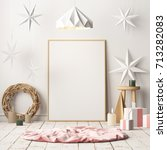 mock up poster in the christmas ... | Shutterstock . vector #713282083