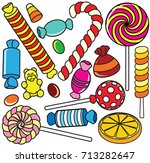 collection of cartoon candy.... | Shutterstock .eps vector #713282647