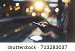enjoying travel. young woman... | Shutterstock . vector #713283037