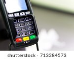 a credit card pin machine with... | Shutterstock . vector #713284573