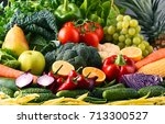 composition with variety of raw ... | Shutterstock . vector #713300527