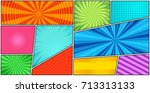 comic book page background with ...   Shutterstock .eps vector #713313133