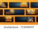 halloween backgrounds... | Shutterstock .eps vector #713340937