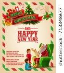 christmas card vintage | Shutterstock .eps vector #713348677