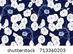 Navy Blue And White Floral...
