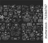 vector seamless pattern pirate... | Shutterstock .eps vector #713363767