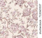 floral pattern. flower seamless ... | Shutterstock .eps vector #713365537