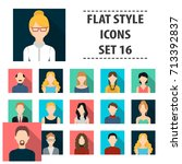 avatar set icons in flat style. ... | Shutterstock .eps vector #713392837