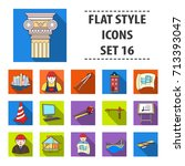 architect set icons in flat... | Shutterstock .eps vector #713393047