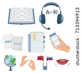 teaching chinese in russia.... | Shutterstock .eps vector #713394913