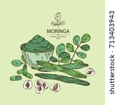 background with moringa  plant  ...   Shutterstock .eps vector #713403943