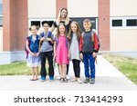 great portrait of school pupil... | Shutterstock . vector #713414293