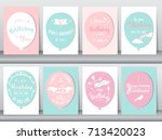set of birthday cards vintage... | Shutterstock .eps vector #713420023