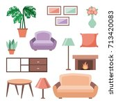 set of interior house room with ... | Shutterstock .eps vector #713420083