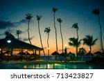evening view of tropical resort ...   Shutterstock . vector #713423827