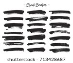 vector brushes. set of black... | Shutterstock .eps vector #713428687