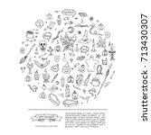 hand drawn doodle happy... | Shutterstock .eps vector #713430307