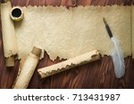 Old Paper  Scroll And Quill Pe...