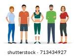group of people in sportswear... | Shutterstock .eps vector #713434927